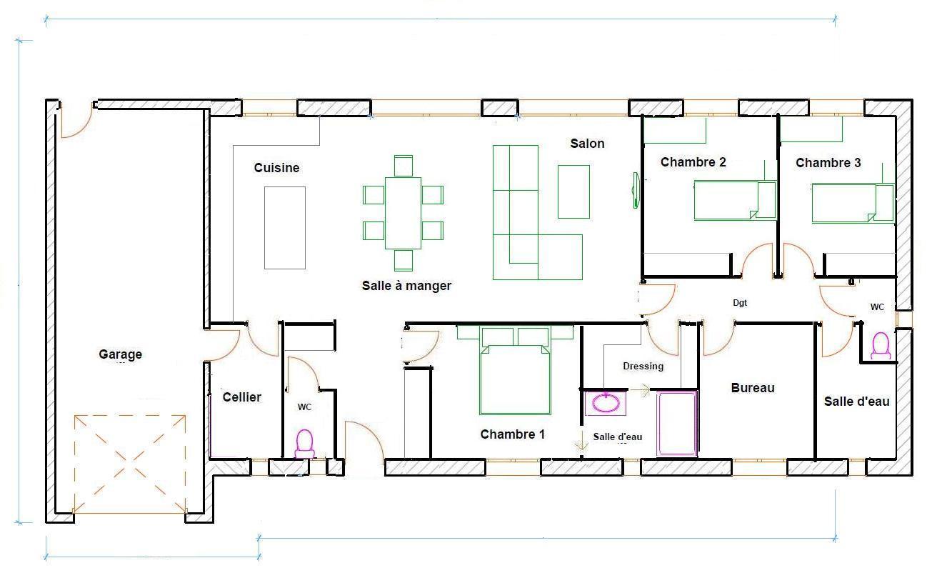 Connu Plan villa plain pied - Maison François Fabie KL72