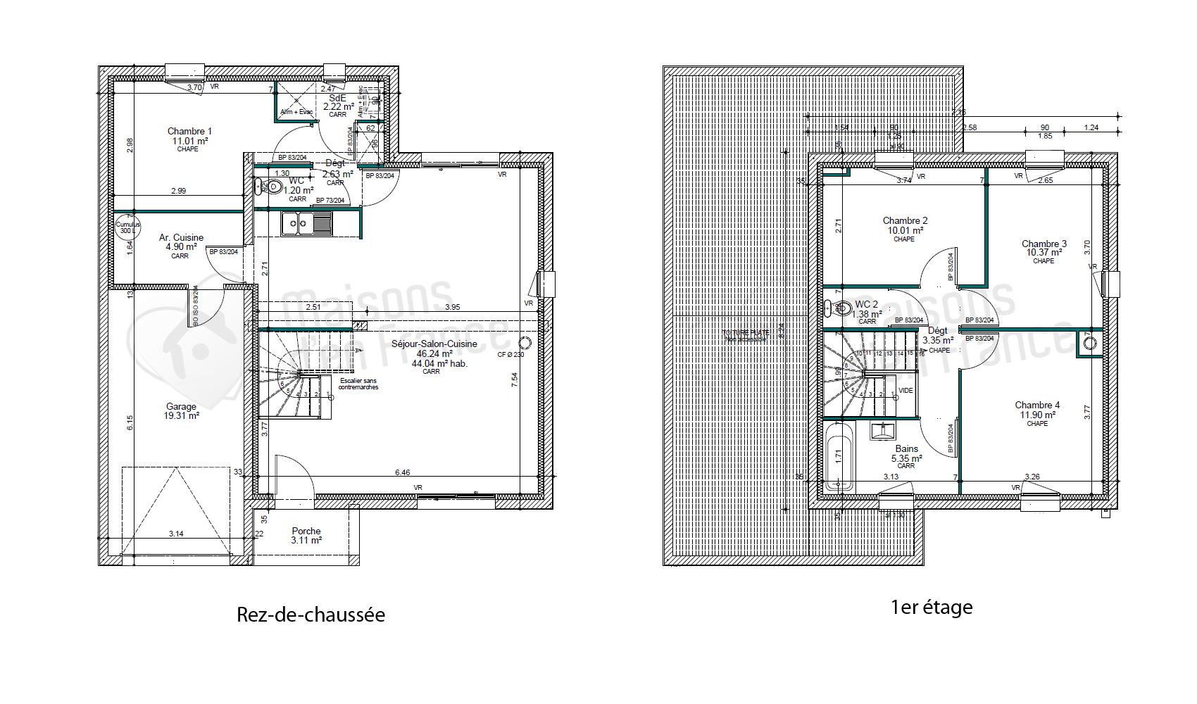 Extrêmement Plan de maison toit plat - Maison François Fabie OW88