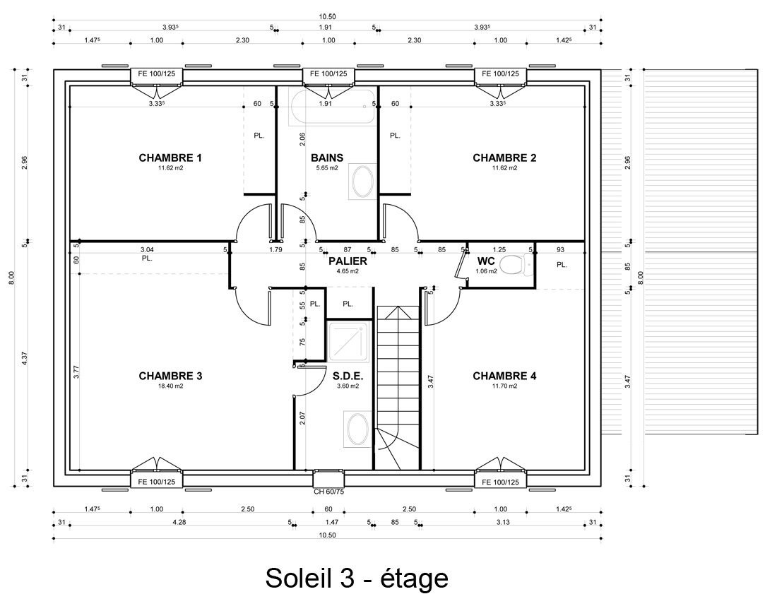 Plan maison 1 niveau for Plan maison un etage