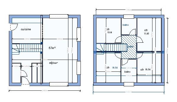 plan maison r+2 gratuit