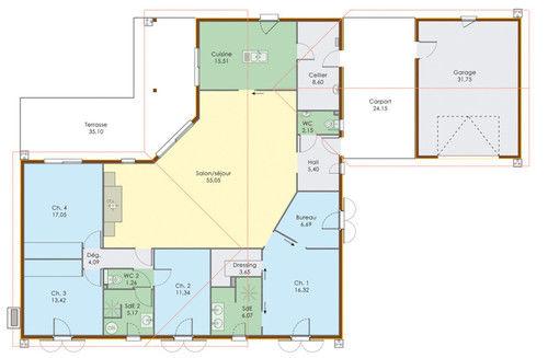 plan maison plain pied en l - maison françois fabie - Plan Maison Plain Pied Gratuit 4 Chambres