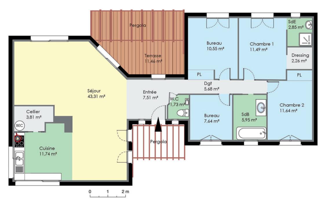 Populaire Plan de maison plain pied moderne - Maison François Fabie GI25