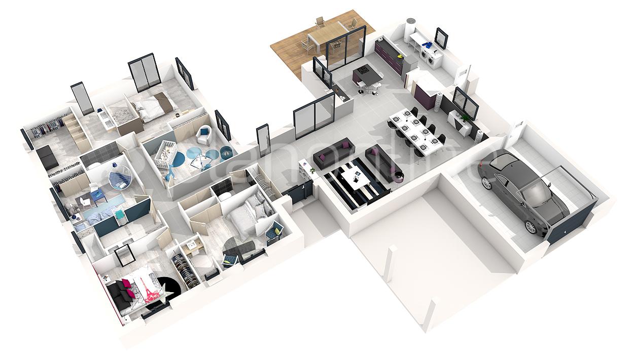 Plan villa moderne 3d maison fran ois fabie for Plan maison moderne 200m2