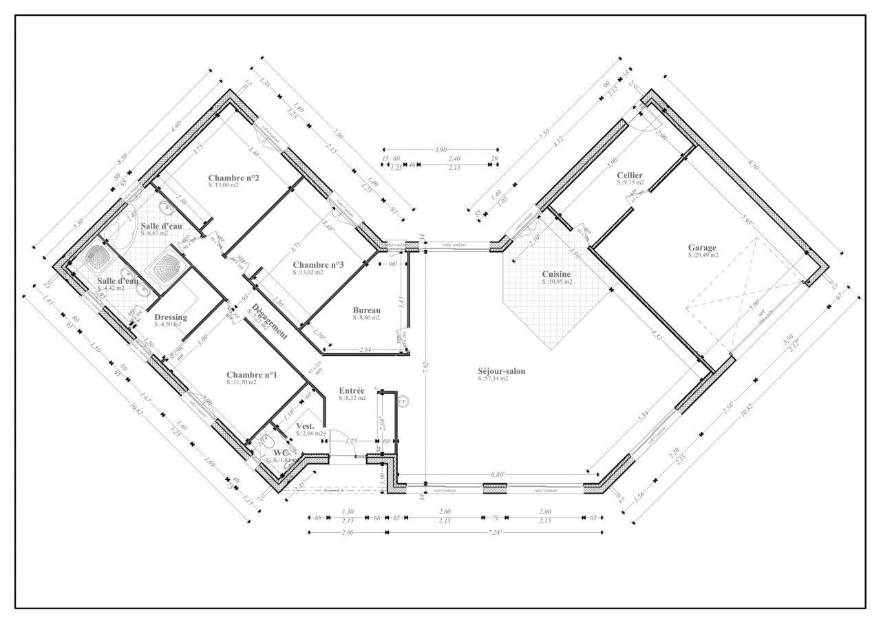 Plan maison en u plain pied maison fran ois fabie for Plan de maison f5
