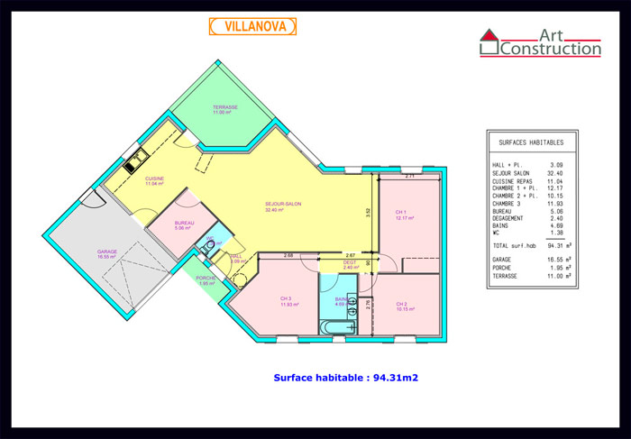 Plan maison contemporaine plain pied maison fran ois fabie for Plan de maison plain pied contemporaine