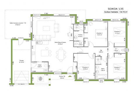 Plan maison moderne plain pied toit plat - Maison François Fabie