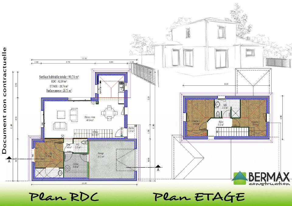 Plan maison contemporaine a etage for Plan maison neuve contemporaine