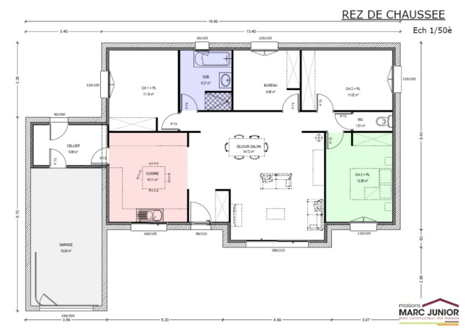 Modele de maison plain pied toit plat maison fran ois fabie for Modele de maison contemporaine de plain pied