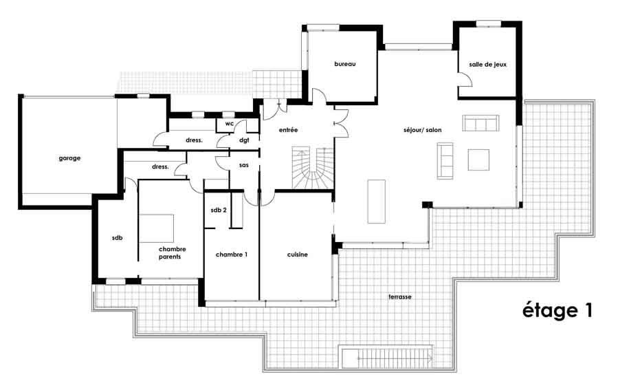 Plan Maison Plain Pied Architecte  Maison Franois Fabie