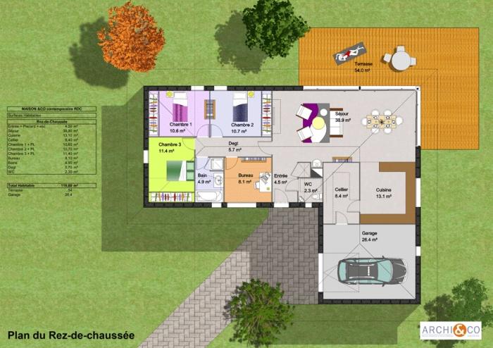 Plan Maison L Plain Pied  Maison Franois Fabie