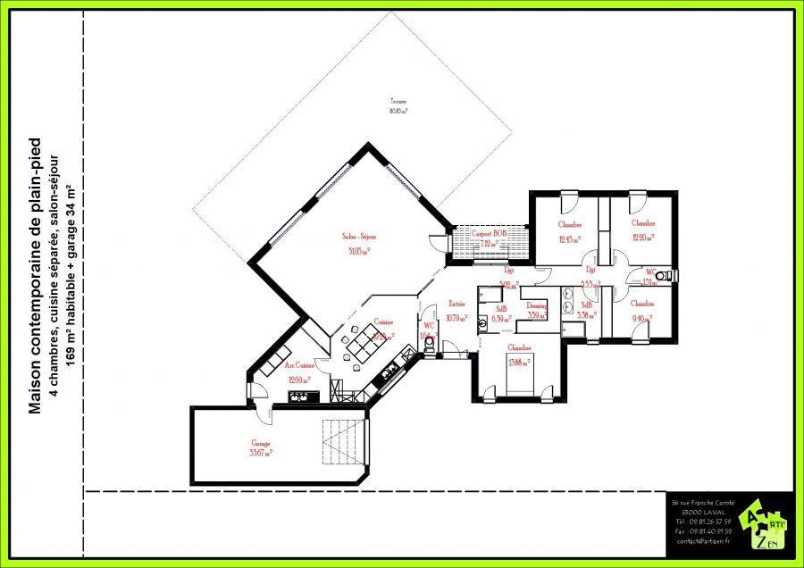 Plans de maisons contemporaines plain pied maison for Plans maisons contemporaines plain pied