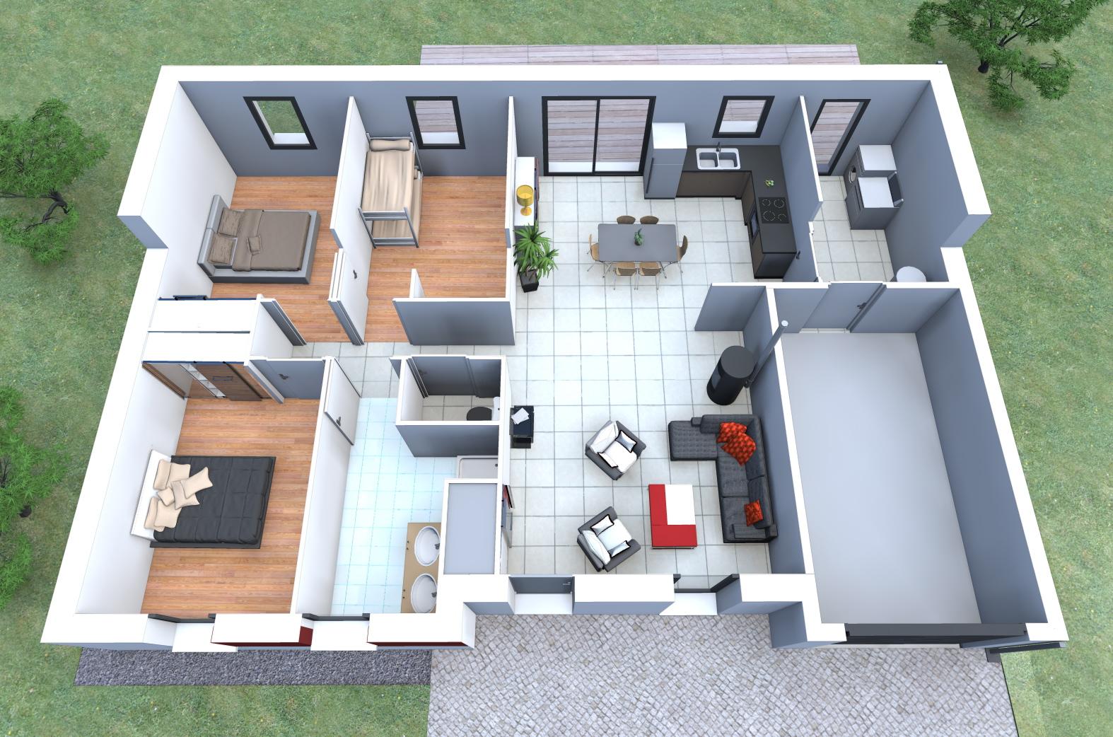 Plan d une maison moderne maison fran ois fabie for Plans de maison construits pour une vue