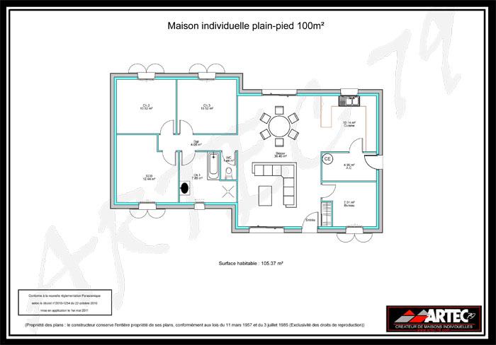 Plan maison cubique plain pied maison fran ois fabie for Plan maison cubique plain pied