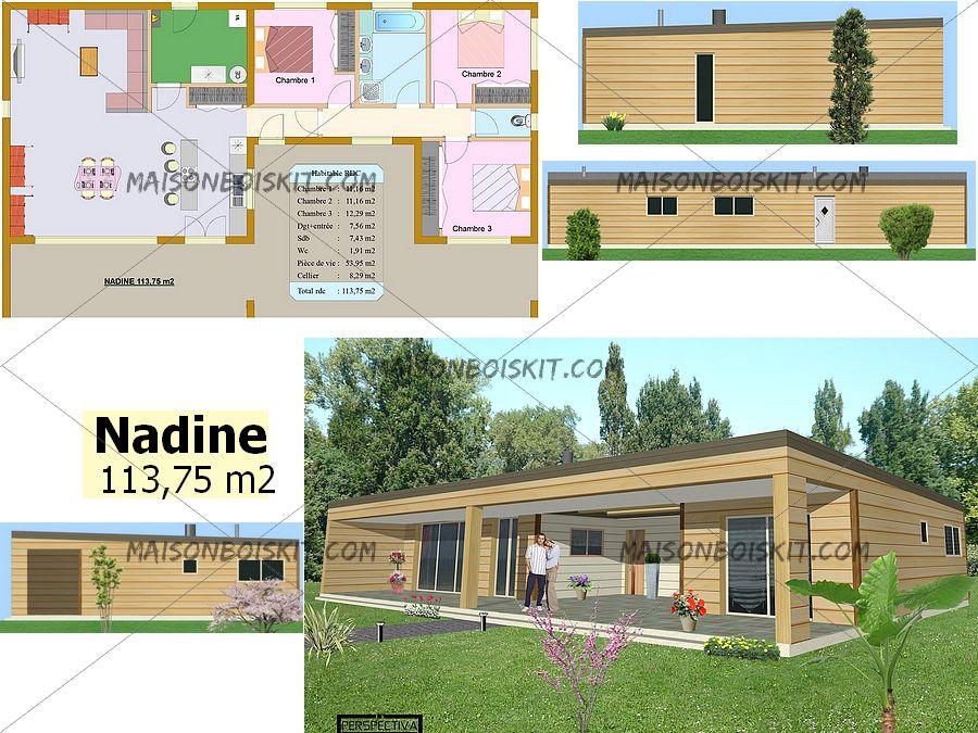 plan maison moderne bois