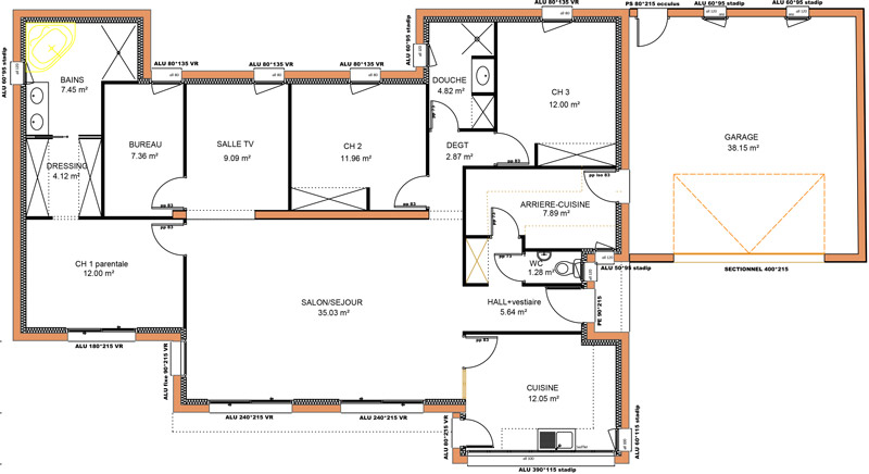 Plan maison contemporaine plain pied 4 chambres maison for Plan maison moderne 110m2