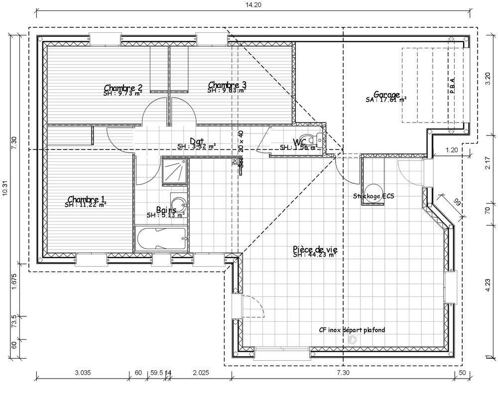 Très Plan maison moderne 100m2 - Maison François Fabie OP23