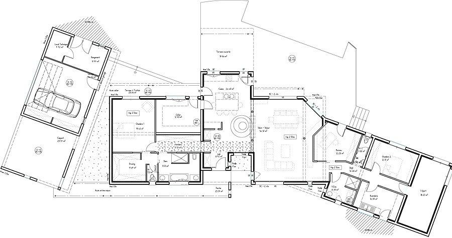 Plan maison architecte maison fran ois fabie for Plan maison architecte