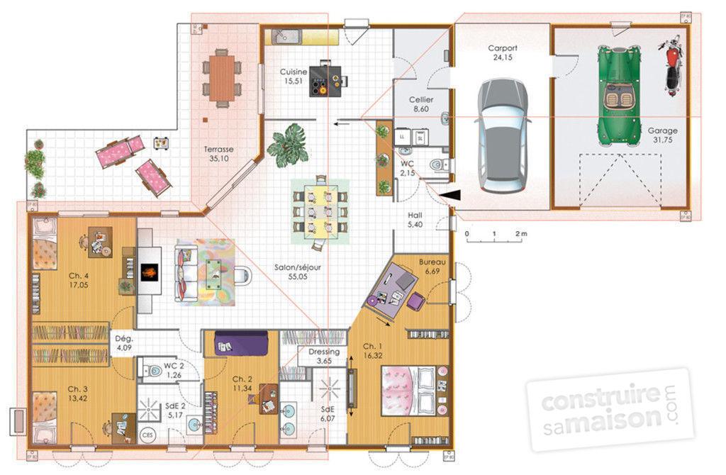 Plan maison plein pied maison fran ois fabie for Exemple maison plain pied