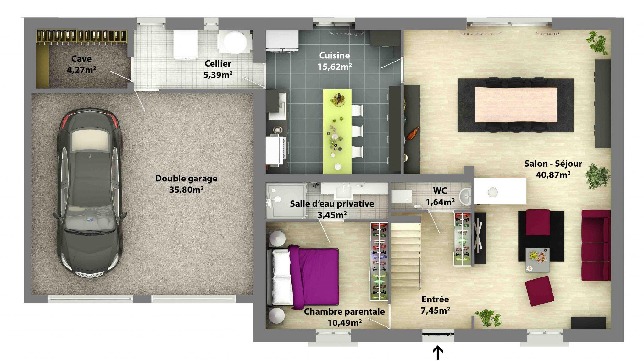 Plan maison traditionnelle avec etage maison fran ois fabie for Plan de maison en l avec etage