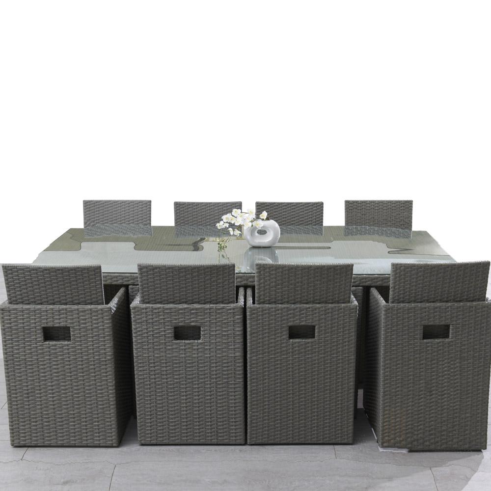 salon de jardin resine tressee gris pas cher maison. Black Bedroom Furniture Sets. Home Design Ideas