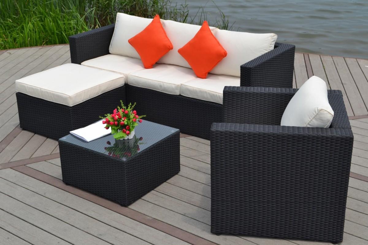 Stunning Salon De Jardin Canape D Angle Resine Tressee Noir Tropical ...