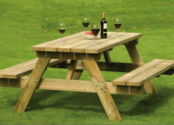 table et banc de jardin en bois pots de fleurs en folies - Table Jardin En Bois