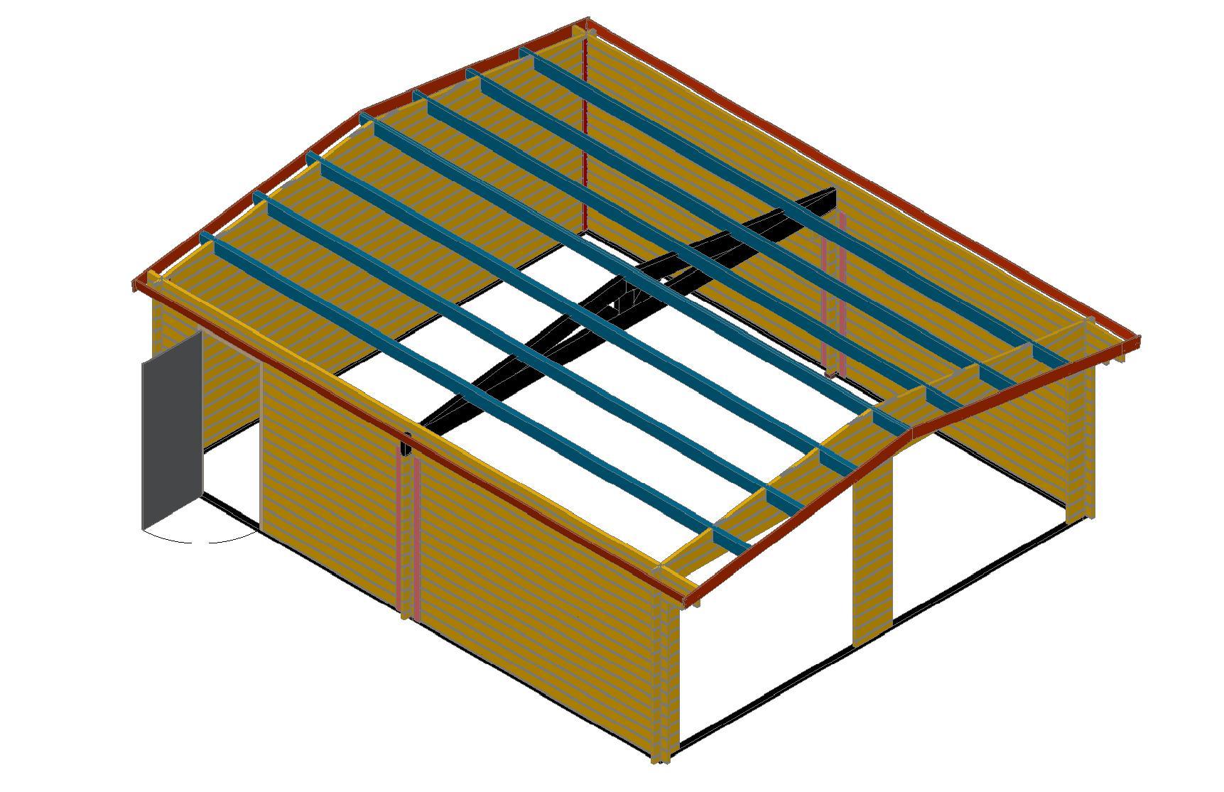 plan garage double ossature bois - maison françois fabie - Plan Garage Ossature Bois Toit Plat