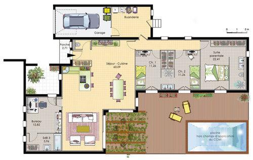 Plan maison design plain pied maison fran ois fabie for Modele maison plain pied 120m2