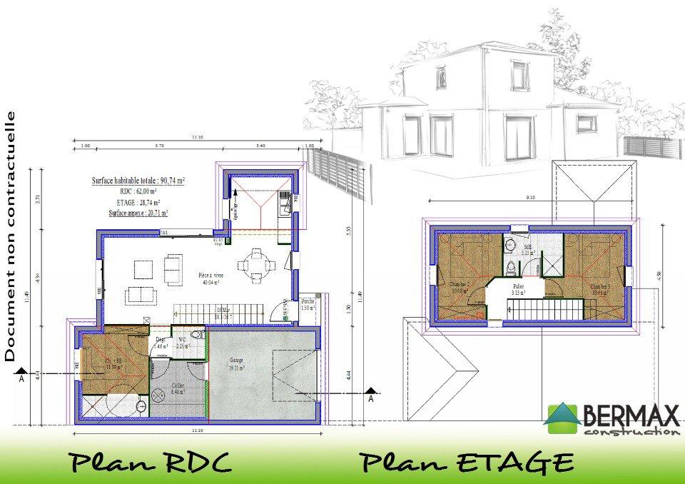 Plan maison moderne tage maison fran ois fabie for Achat maison neuve 77