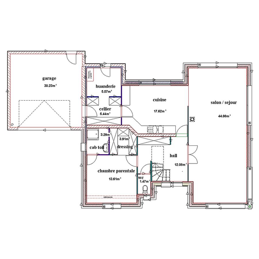 Plan de maison cubique maison fran ois fabie for Plan de maison cubique