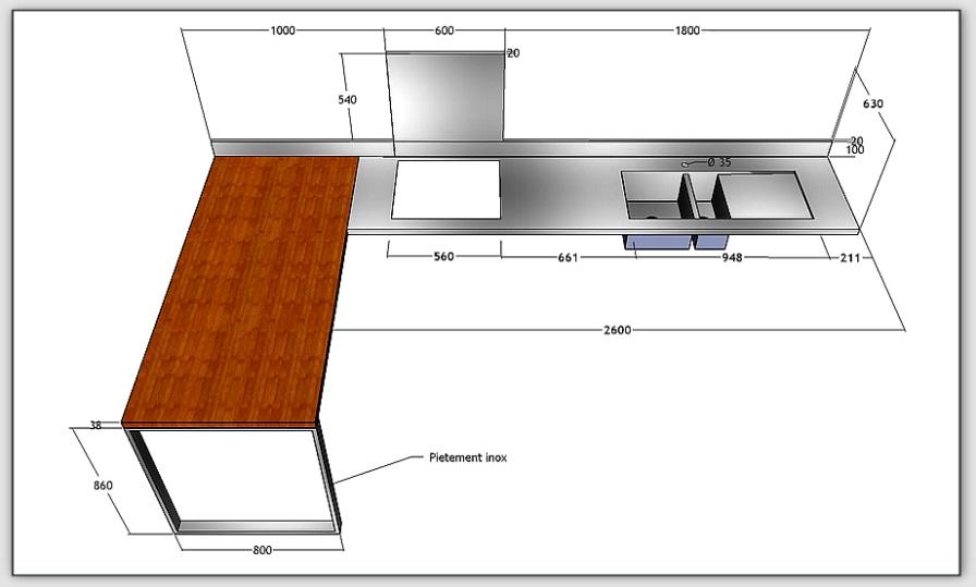plan de travail de cuisine sur mesure maison fran ois fabie. Black Bedroom Furniture Sets. Home Design Ideas