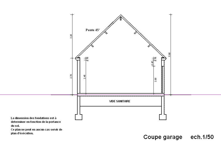Plan en coupe garage maison fran ois fabie for Faire un plan de garage