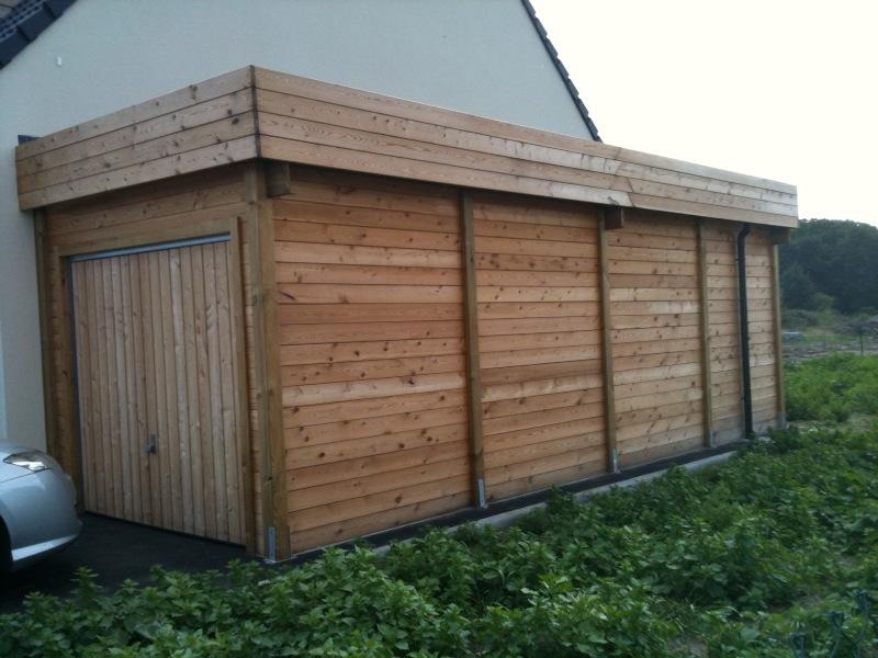 construire garage bois toit plat maison fran ois fabie. Black Bedroom Furniture Sets. Home Design Ideas
